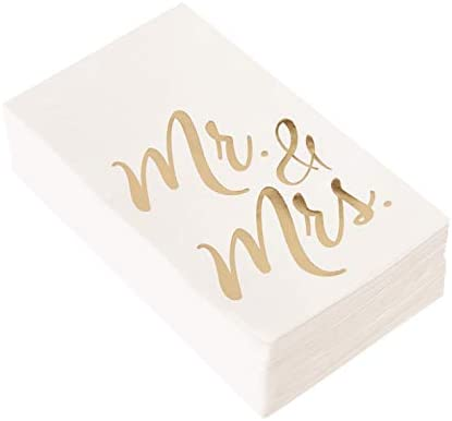 63ce233d01d57 Wedding Dinner Napkins - 50-Pack Mr and Mrs Gold Foil Paper Napkins, 1/6  Fold 3-Ply, Wedding, Anniversary Disposable Party Supplies, White, ...