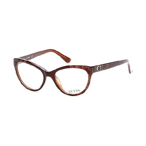 Guess Women's Eyeglasses GU2554 GU/2554 050 Brown Cat Eye Optical Frame ()