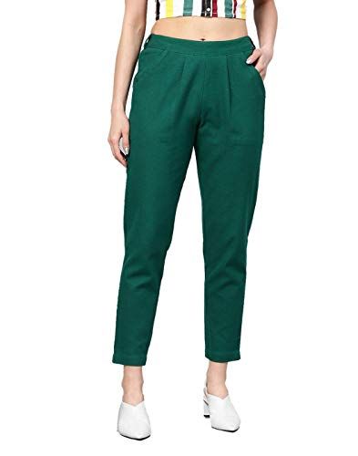 Saavi Creation Trouser Pants for Women Western/Trousers Regular Dark Green