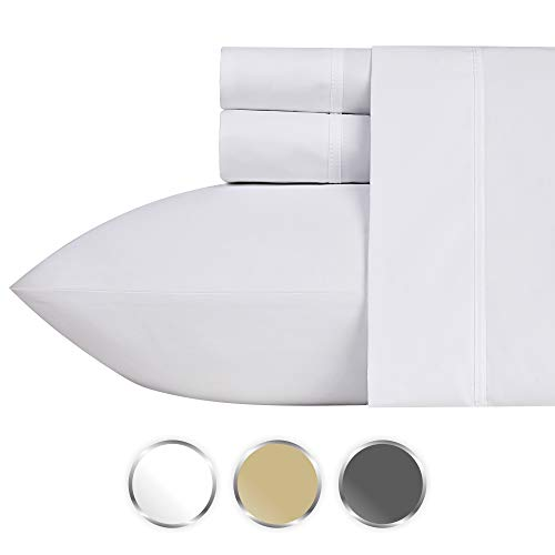 Price comparison product image California Design Den 1000-Thread-Count 100% Pure Cotton Sheets Set on Amazon, 4-Pc King White Sheet, Single Ply Long-Staple Combed Cotton Yarns, Sateen Weave, Fits Mattress Upto 20'' Deep Pocket