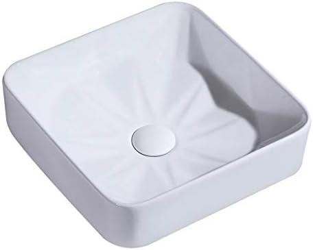 BoPin 洗面化粧台、カウンタ流域上記正方形セラミック盆地のバスルーム(タップなし)単一流域アート37X37X11.5cm ベッセルシンクシンク (Size : 37X37X11.5cm)