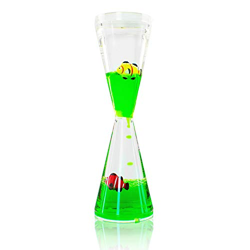 Super Z Outlet Colorful Liquid Motion Tall Bubbler Desk Sensory Toy Timer Floating Marine Life Sea Creatures for Play, Fidgeting, Captivating Distraction (Fish)