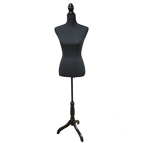 Female Mannequin Torso Body Dress Form with Black Adjustable Tripod Stand for Clothing Dress Jewelry Display, Black