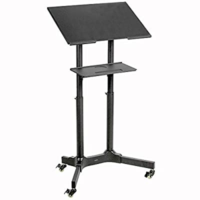 """VIVO Black Steel Mobile 24"""" Height Adjustable Multi-Purpose Rolling Podium, Lectern, and Laptop Workstation Desk with Storage Tray (CART-V03E)"""