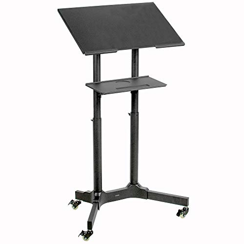 - VIVO Black Steel Mobile 24 inch Height Adjustable Multi-Purpose Rolling Podium, Lectern, and Laptop Workstation Desk with Storage Tray (CART-V03E)