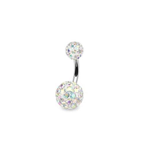 Coolbodyart piercing de nombril avec cristaux ferido «2» clair cristaux ferido epoxd multikristallkugel-aurore boréale aurore boréale)