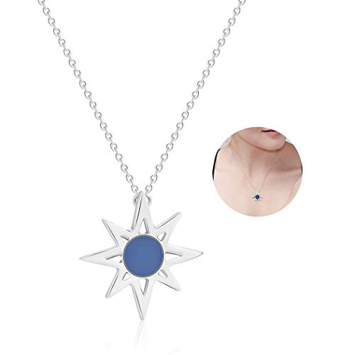 - YOOE Simple Golden Sun Beam Polaris Necklace, Irregular Star Shape Necklace,Charm North Star Pendant Necklace Lightning Flower Necklace for Women (Silver)