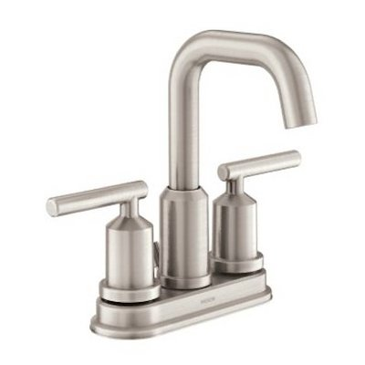 (Moen WS84228SRN Gibson Two-Handle High Arc Bathroom Faucet, Spot Resist Brushed Nickel)