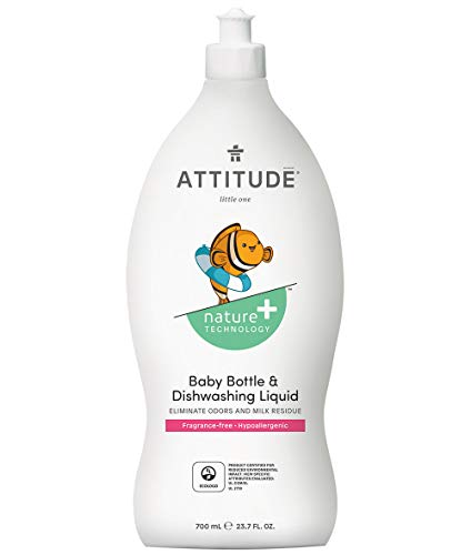 ATTITUDE Nature +, Hypoallergenic Baby Bottle and Dishwashing Liquid, Fragrance Free, 23.7 Fluid ()
