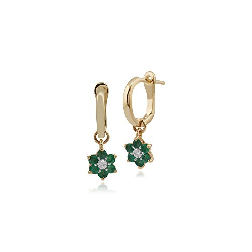 - Gemondo Emerald Earrings, 10ct Yellow Gold Emerald & Diamond Floral Drop Earrings