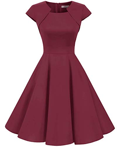 Homrain Women's 1950s Retro Vintage A-Line Cap Sleeve Cocktail Swing Party Dress Dark Red XS Cotton Cap Sleeve Square Neck