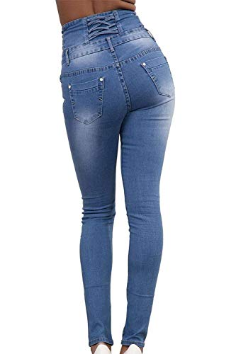 Boutonnage Taille À Pantalon Skinny Mode Poches Fit Slim Dunkelblau Avec Haute Couleur Femmes Jeans Stretch Unie Crayon Pour Décontracté rdQsCth