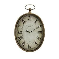 IMAX 27476 Toledo Clock - Oversized Antique Pocket Watch, Vintage Inspired Timepiece, Handcrafted Clock for Bedroom, Livingroom, Study Room. Wall Clocks