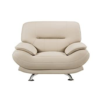 American Eagle Furniture Upholstered Bonded Leather Armchair with Added Base Support and Pillow Top Armrests, Cream
