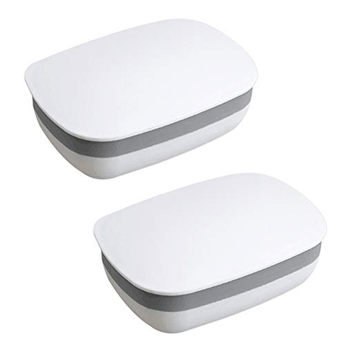 (Soap Holder Soap Box Soap Dish Soap Protector Containers with Lid 2 Pack Plastic Soap Case for Home Gym Camping Outdoor Travel (White))