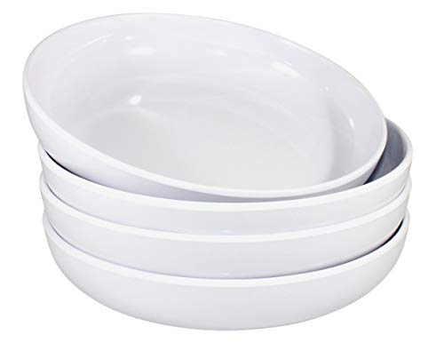 Virtual Elements White Plastic 100 Percent Melamine Salad and Pasta Bowls 30 Ounce Set of - Soup Flat Bowl