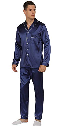 YIMANIE Mens Silk Satin Pajamas Set Classic Sleepwear Loungewear (Large, Navy) (Silk Satin Pajama)
