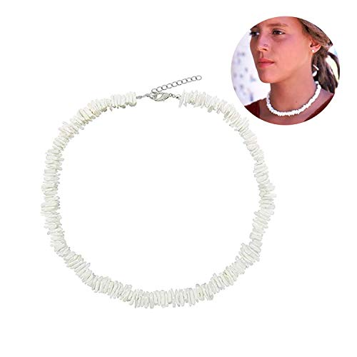 White Surfer Necklace - Women White Puka Shell Necklace Conch Clam Chips Puka Shell Choker Necklace Native Hawaiian Beach Shell Adjustable Collar Necklace for Girls Men Boys