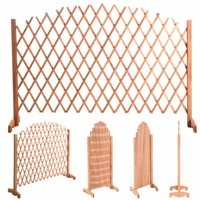 Expanding Portable Fence Wooden Screen Dog Gate Pet Safety Kid Patio Garden ()