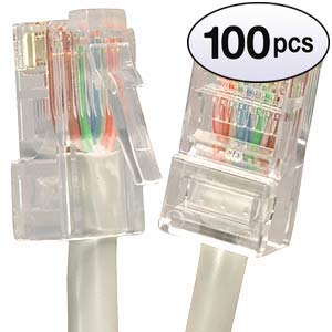 (GOWOS (100 Pack) Cat5e Ethernet Cable (0.5 Feet - Gray) 24AWG Network Cable with Gold Plated RJ45 Non-Booted Connector - 1Gigabit/Sec High Speed LAN Internet/Patch Cable - 350MHz)