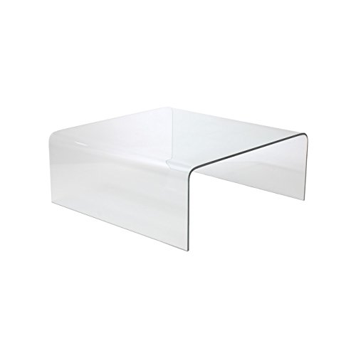 Euro Style Ginny Modern Bent Glass Square Coffee Table