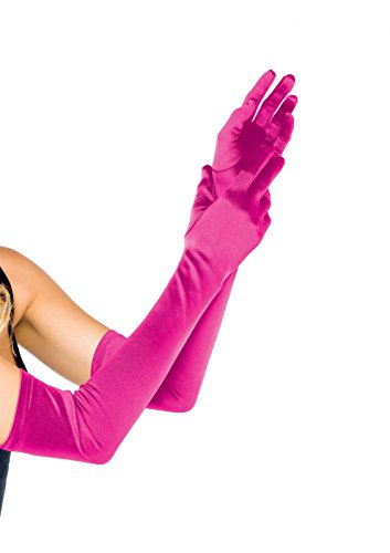 Leg Avenue Women's Long Satin Gloves, Fuschia, One Size -