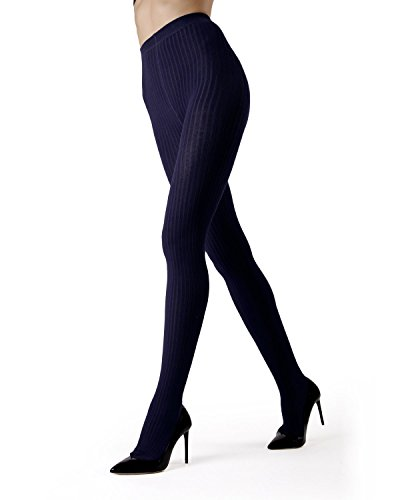 MeMoi Boston Ribbed Sweater Tights | Womens Winter Hosiery - Pantyhose Navy MO 327 Large/XLarge