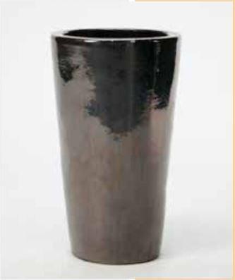 Blumenübertopf Partner aus Keramik, sonnen- und regenbeständig für Innen und Außen, Farbe Metall glänzend Ø 36cm Höhe 70cm