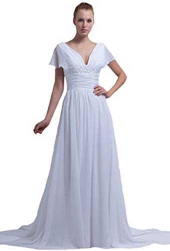 Ruffle V-neck Court Train - JOYNO BRIDE Chiffon Ruffle Beading Court Train V Neck Empire Wedding Dresses(6,Ivory)