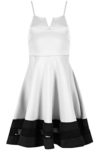 Be Jealous femmes CARACO Insert maille Contraste col V à lanières SWING Skater robe grande taille UK 8-26 - Crème/Noir, Plus Size (UK 20/22)