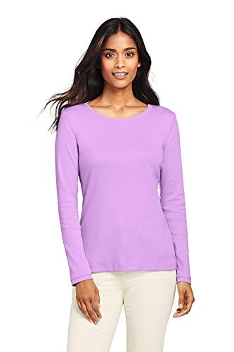Lands' End Women's Tall All Cotton Long Sleeve T-Shirt - Rib Knit Crewneck, L, Pansy