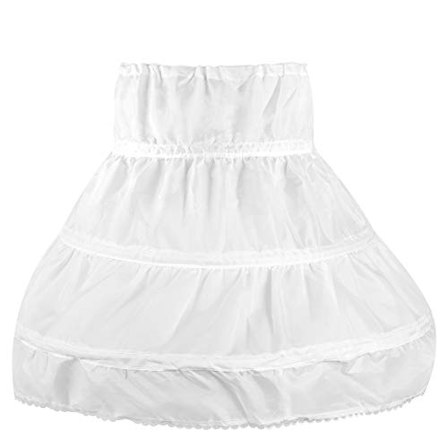 OULII Girls' Petticoat Half Slip 3 Hoop Flower Girl Crinoline Petticoat Skirt, White, One -