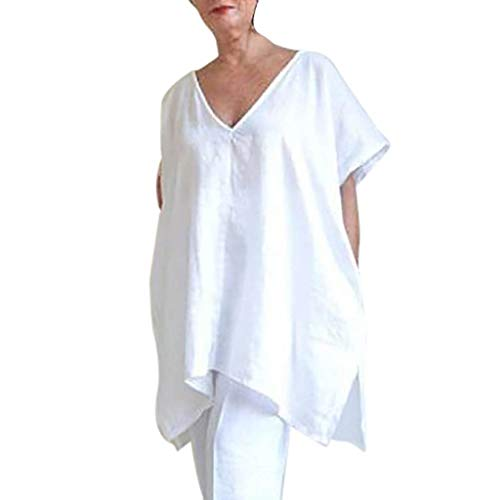 (RAINED-Women Casual Linen Tops Blouse Plus Size Short Sleeve T-Shirt V-Neck Loose Cover Ups Pure Tunic Dress Party Dress White)