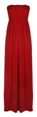 Vestido largo para mujer, escote palabra de honor, tallas 36-54 Rosso