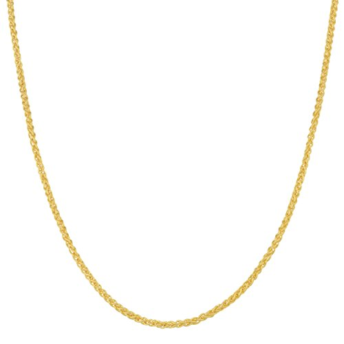 - Kooljewelry Solid 14k Yellow Gold 1.25 mm Round Wheat Chain Necklace (18 inch)