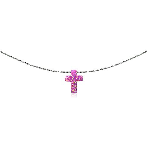 Sterling Silver Created Pink Opal Cross Dainty Choker Necklace
