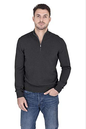 Cashmeren Men's 100% Pure Cashmere Classic Knit Soft Half Zip Mock Neck Pullover Sweater (Charcoal, Large)