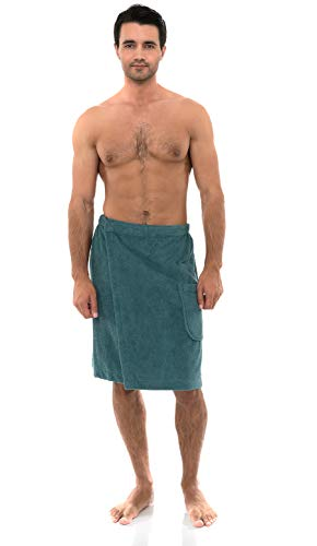 TowelSelections Men's Wrap, Shower & Bath Terry Towel with Snaps Small/Large Brittany Blue