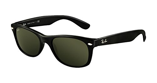 Ray-Ban RB2132 New Wayfarer Sunglasses Unisex (Black Frame Solid Black Lens, 55 - Ray New Ban Wayfarer 55mm