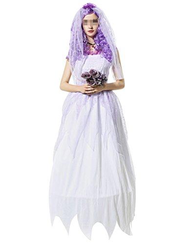 THEE Women Girl Ghost Bride Costume Halloween (Girl Chucky Costume)
