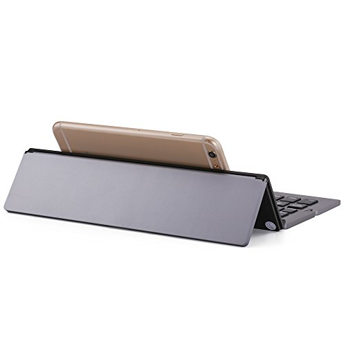 NOVT Foldable Wireless Bluetooth Keyboard with Kickstand for iPhone / iPad Pro / iPad Air 2 / Air, iPad mini 3 / mini 2, iPad, Galaxy Tabs and Other Windows Android iOS Tablet Smart phones (Gray) by NOVT (Image #6)