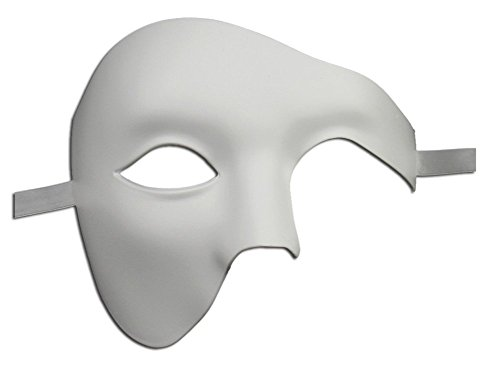 Luxury Mask Men's Phantom Of The Opera Masquerade Mask Vintage Design, White Half Face, One Size -