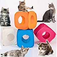 Pop Up Play Cube for Cat Kitten Small Pets Fun Box Foldable Random 4 Colours Off White