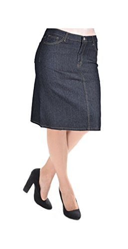 Tabeez Women's Plus Size Solid Denim Workwear Pencil Skirt (XL, Black) (Straight Denim Skirt)