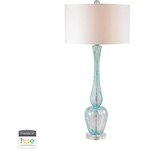 Table Lamps 1 Light Fixtures with Light Blue Swirl Finish Glass Material E26 36