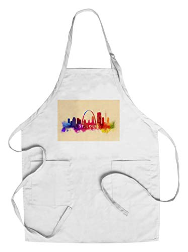 Apron St Louis - St. Louis, Missouri - Skyline Abstract (Cotton/Polyester Chef's Apron)