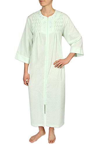Miss Elaine Seersucker - Miss Elaine Plus Size Women's Long Seersucker Zipper Robe, with 3/4 Sleeves, and Two Inset Side Pockets Mint