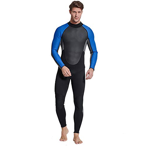 ZUKN Men's Wetsuits 3mm Neoprene Warm Keeping Diving Suit Back Zip Long Sleeved Full Body Swimsuit for Freediving Scuba Surfing Snorkeling Swimming,A,L ()