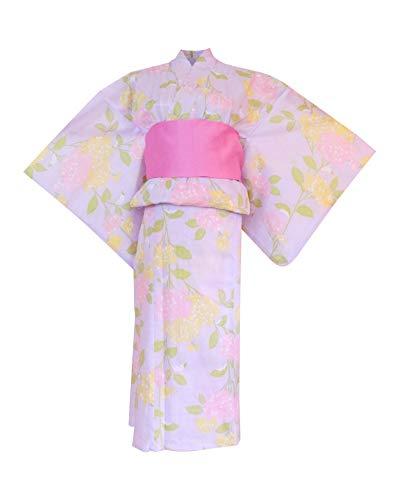 myKimono Women's Traditional Japanese Kimono Robe Yukata with OBI Belt & Koshi-himo Thin Belt 595 (Purple)