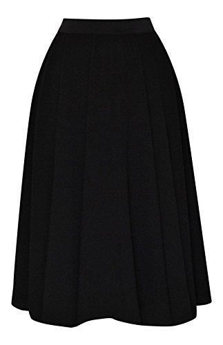 Ladies 40's 50' S estilo Vintage negro crepé cintura elástica Full Circle Rockabilly Jive Swing Falda acampanado